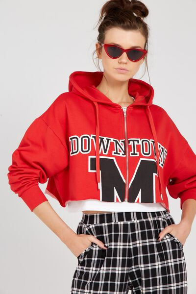 Raw Slouch Zip Thru Hoodie, RED/DOWNTOWN