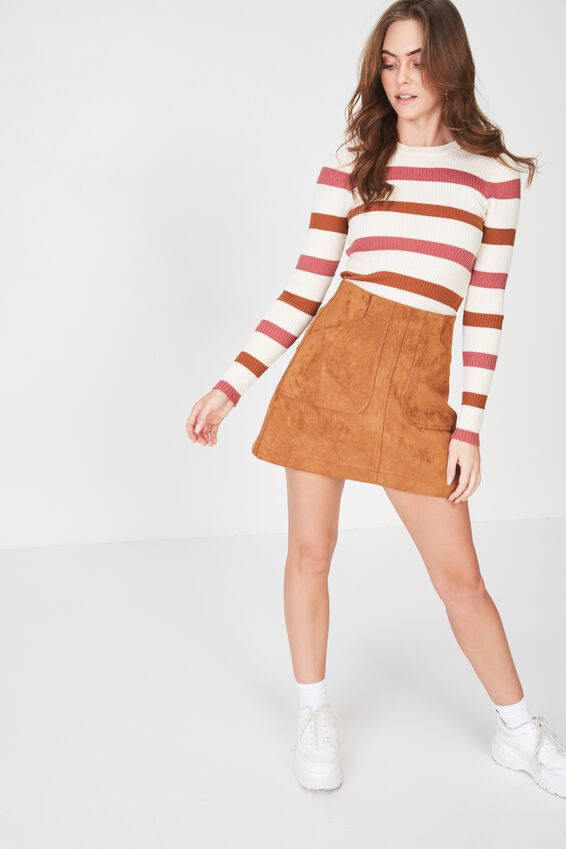 Chloe Long Sleeve Crew Neck, TOFFEE STRIPE-CREAM PUFF/TOFFEE/LIPSTICK