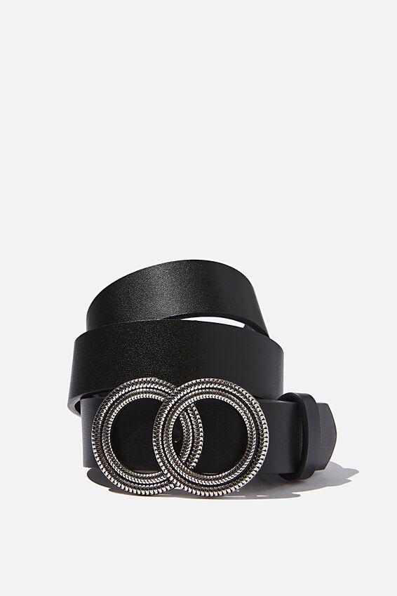 Textured Double Hoop Belt, BLACK/ANTIQUE SILVER