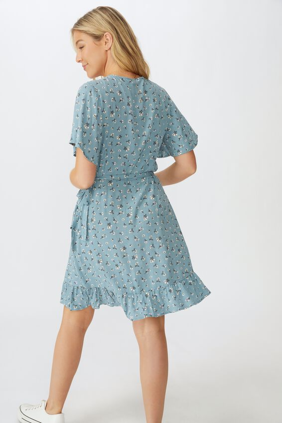 Emily Wrap Dress, CLUSTERED SPROUT SAGE