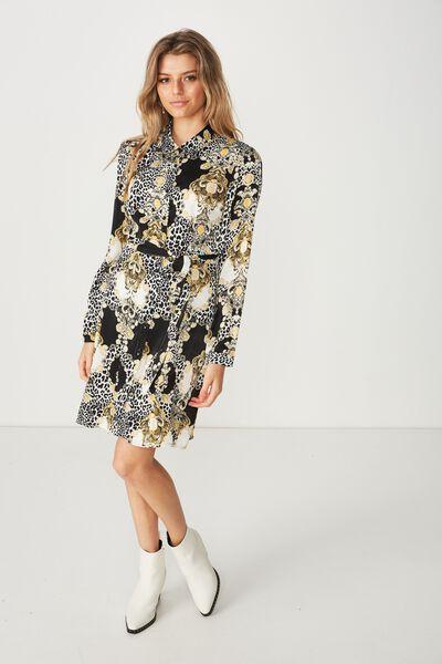 4b52a1fda1d Paris Satin Shirt Dress