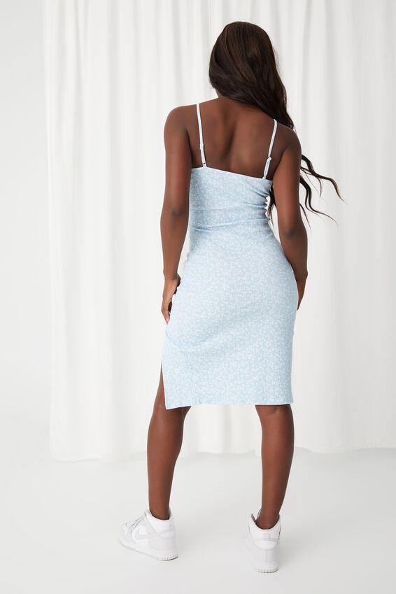 Gemma Split Midi Dress, ZOE FLORAL RAIN BLUE