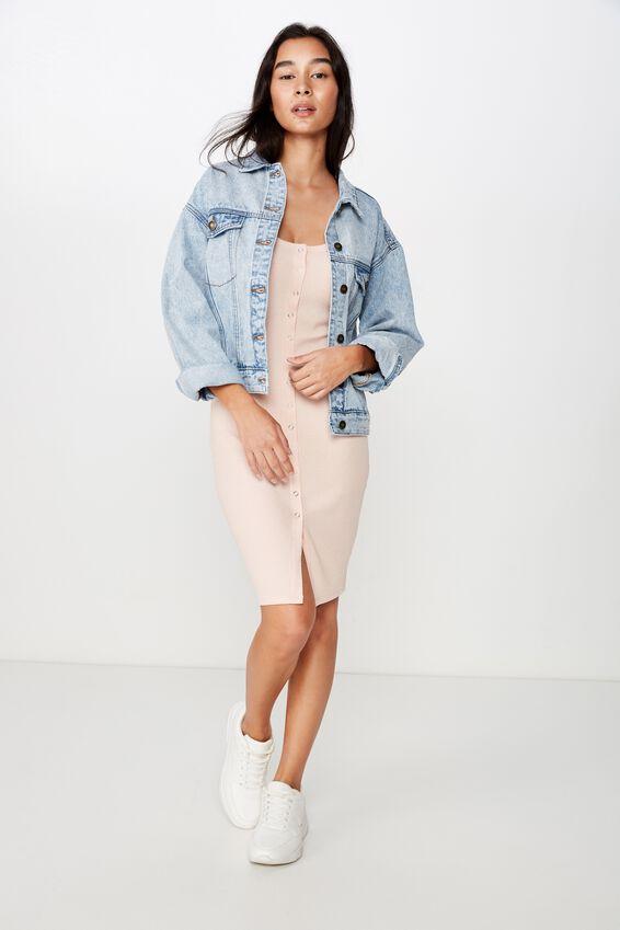 Linda Snap Button Midi Dress, PINK FLOSS