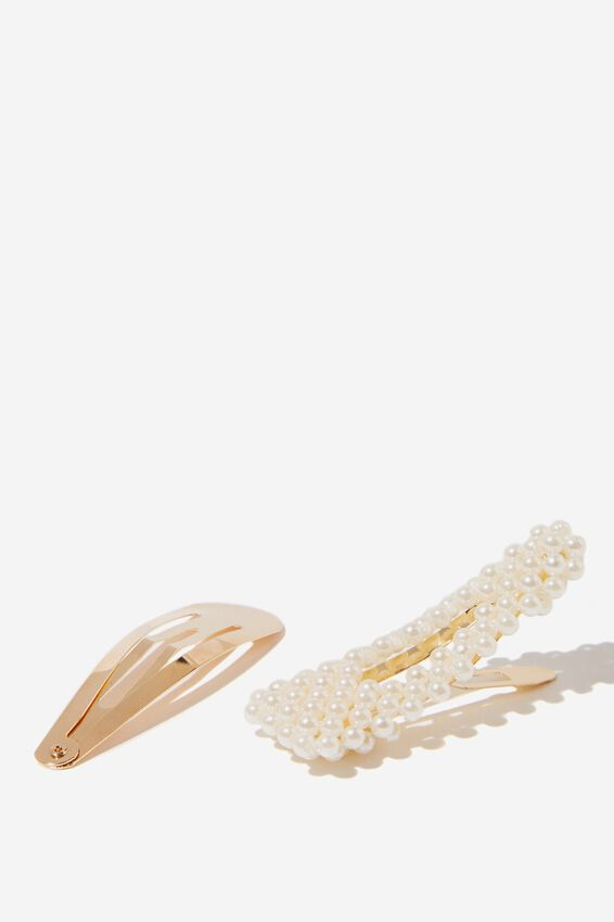 Embellished Hair Snap Pack, PEARL/GOLD