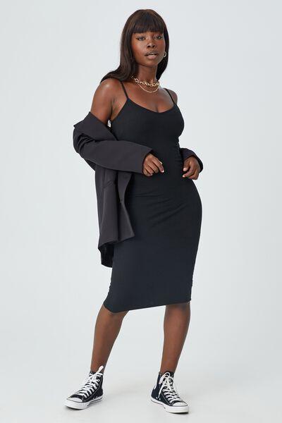 Georgia V Neck Midi Dress, BLACK