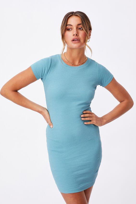 Lucia Rib Tee Mini Dress, CHALKY TEAL
