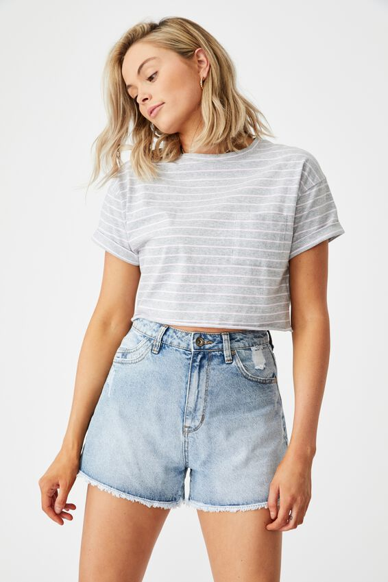 Ciara Crop T-Shirt, SMALL DOUBLE STRIPE (LHT GRY MRL/RCHD RS/WHT)