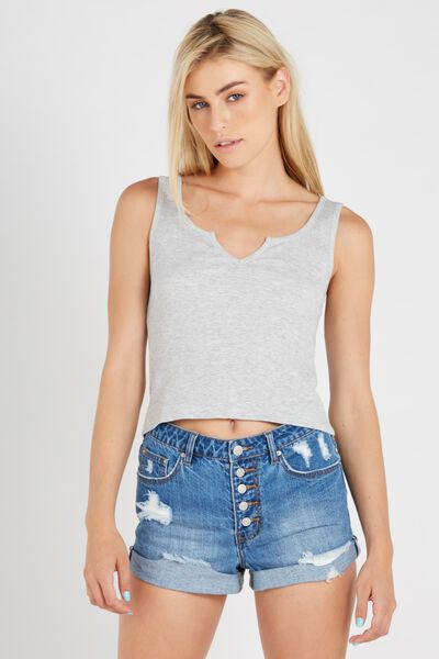 Notched Rib Tank, GREY MARLE