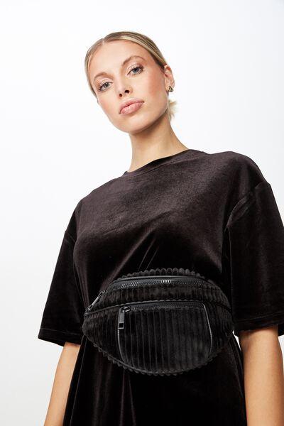 Cord Bum Bag, BLACK
