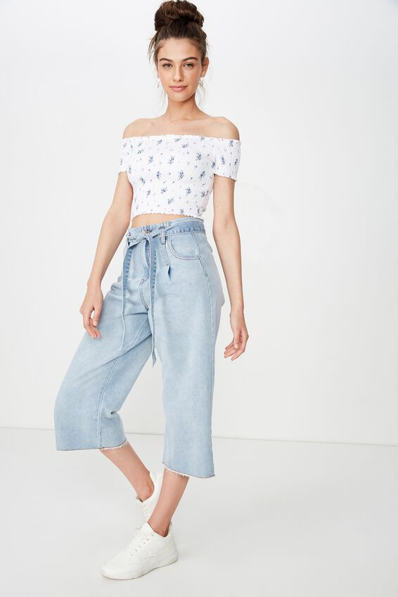 Kirsty Shirred Off The Shoulder Top, PRUE BLUE FLORAL DITSY