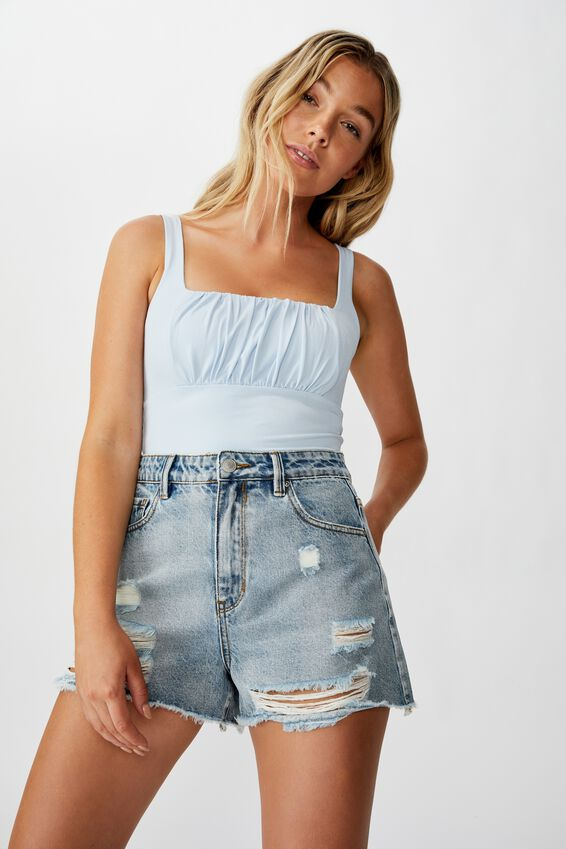 Charlotte Gathered Front Cami, ICE BLUE