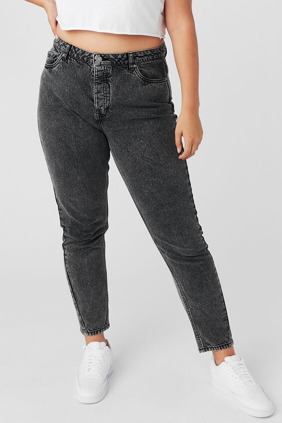 The Mom Denim Jean, BLACK SNOW WASH