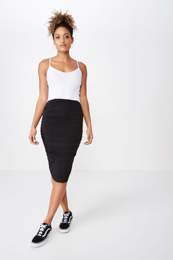Gathered Midi Skirt, BLACK
