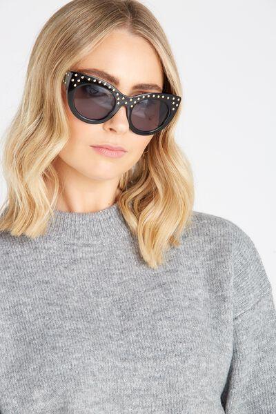 Dallas Catty Sunglasses, BLACK STUDS