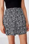 Poppy Shirred Waist Tiered Skirt, ALLY B&W FLORAL