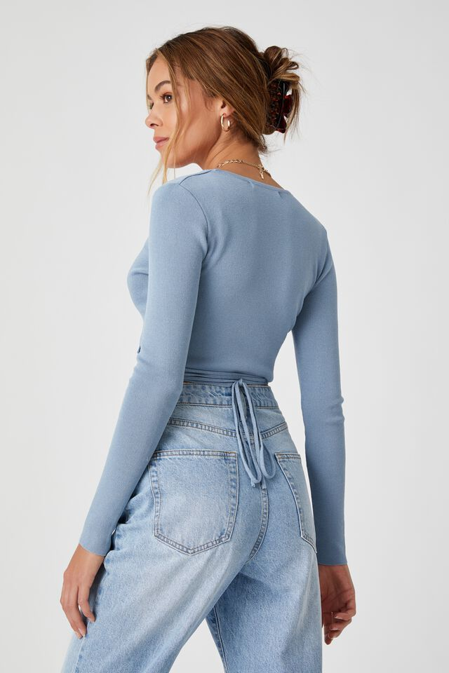 Davina Wrap Knit Top, ARGO BLUE