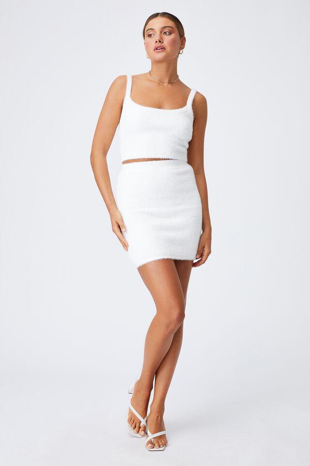 Melissa Fluffy Skirt Co Ord, WHITE