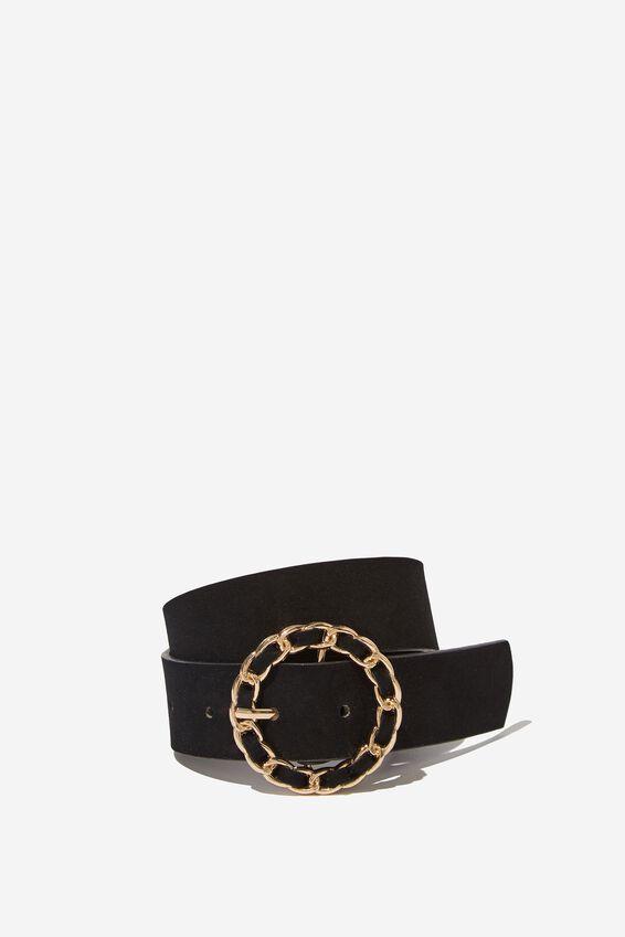 Chain Buckle Belt, BLACK/GOLD