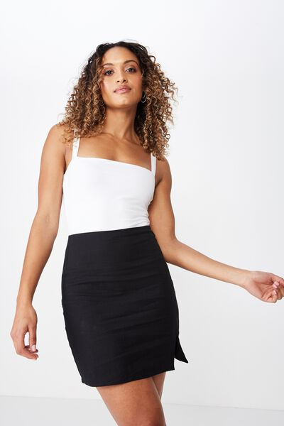 Lily Split Front Mini Skirt, BLACK