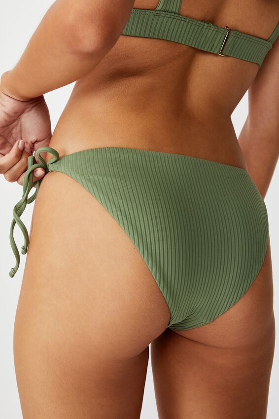 Bells Tie Side Bikini Bottom, SUMMER KHAKI RIB