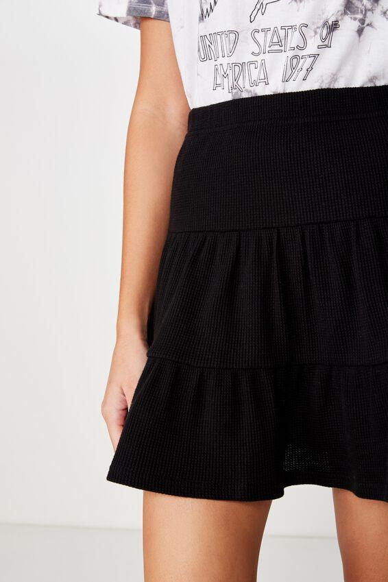 Josie Waffle Tiered Skirt, BLACK