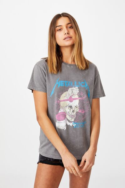 Kendall Printed T Shirt, VINTAGE WASH/CEMENT GREY/LCN PRO METALLICA SK