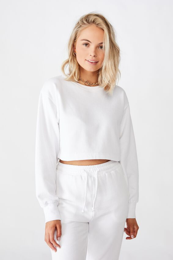 Crop Crew Neck Jumper, WHITE