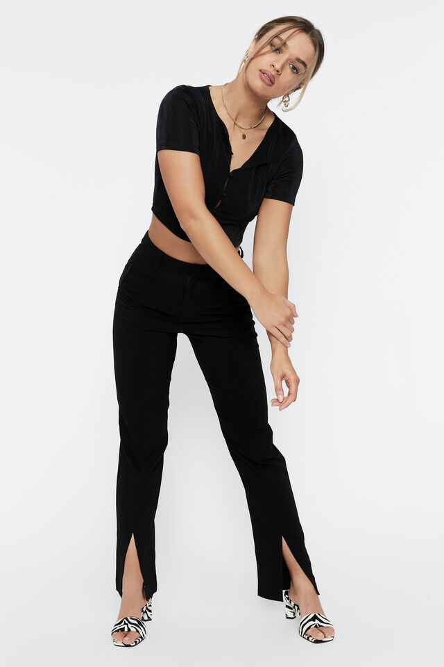 Frankie Slinky Short Sleeve Button Top, BLACK