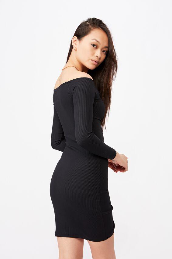 Freya Ruched Front Long Sleeve Dress, BLACK