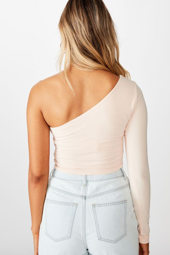 Haven One Shoulder Long Sleeve Top, PINK FLOSS