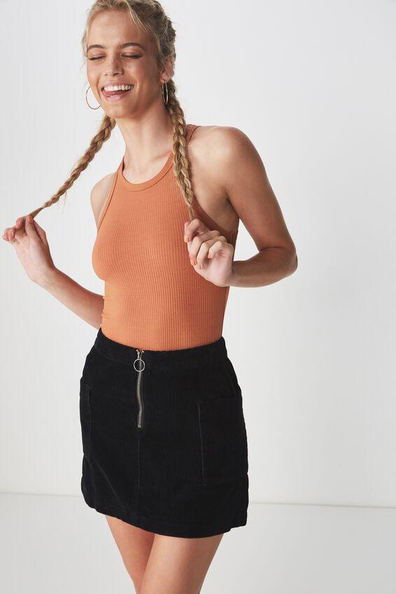 Cord Patch Pocket Skirt, BLACK