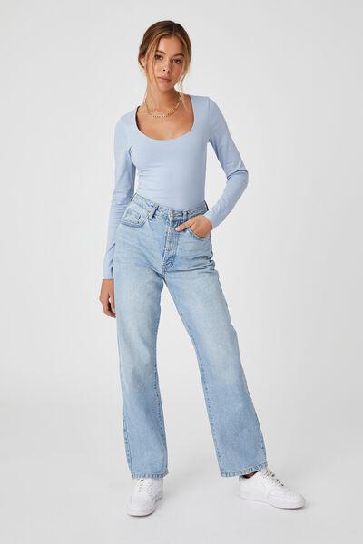 Helena Scoop Neck Long Sleeve Top, HAZEY BLUE