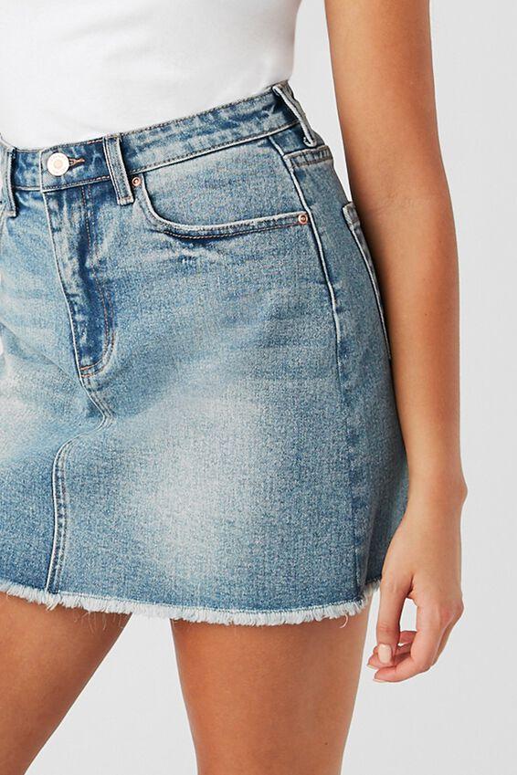 Rachel Stretch Denim Mini Skirt, CUBAN BLUE