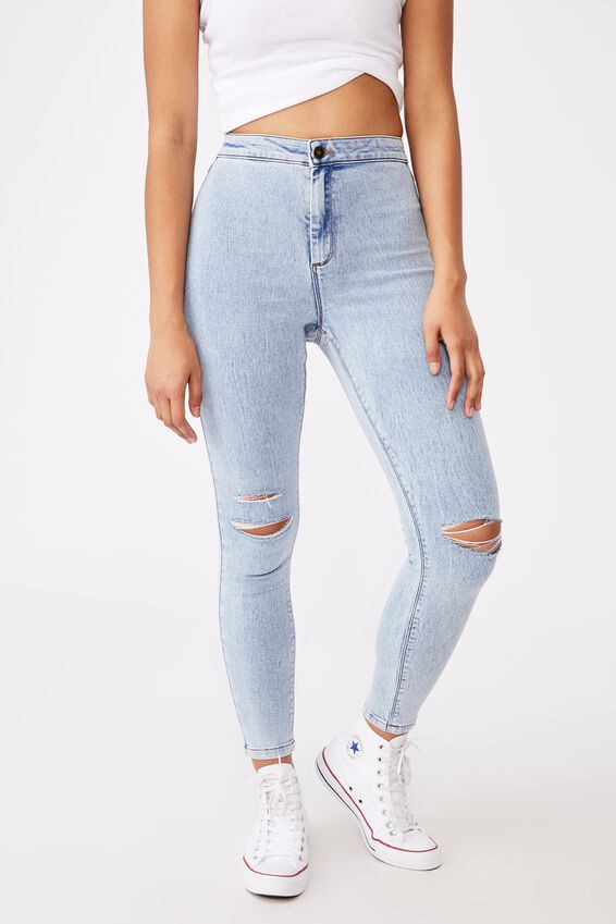 The Super Skinny Sky High Ripped Jean, STONE BLUE RIPPED