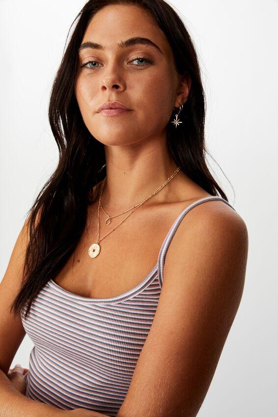 Tatiana Rib Cami, KIARA STRIPE (CEMENT GREY/ANT.ROSE/WHT)
