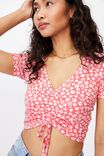 Jenny Gather Front Top, RHIANNON FLORAL SUN KISSED CORAL