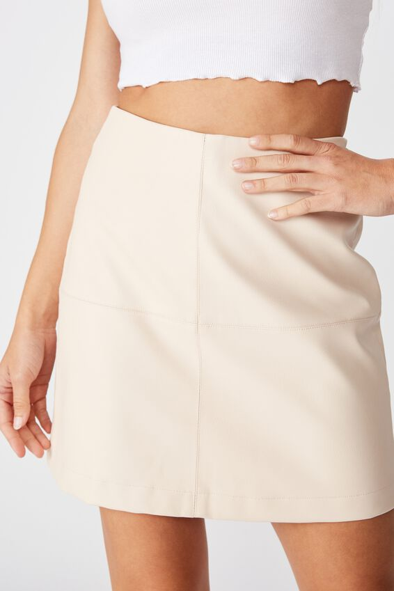 Danielle Aline Faux Leather Skirt, NUDE