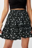 Kaiya Frill Hem Skirt, ROMANTIC ROSETTE/BLACK