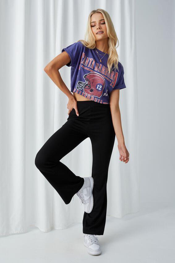 Tamara Printed Crop T Shirt, COBALT NAVY/SANTA BARBARA