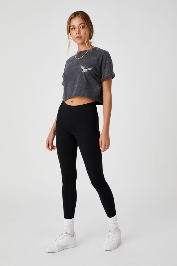 Moto Wings Crop T Shirt, ACID WASH BLACK/MOTO WINGS