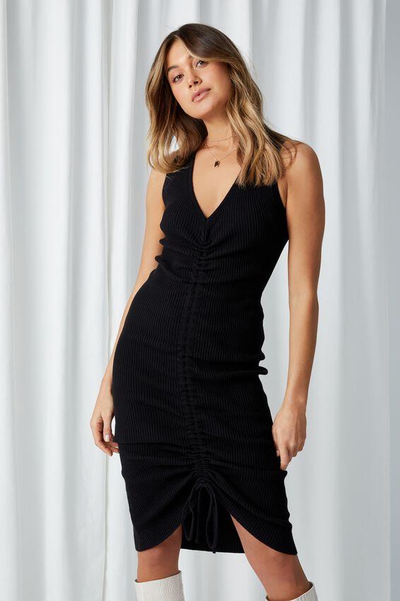 Ruched Midi Dress, BLACK
