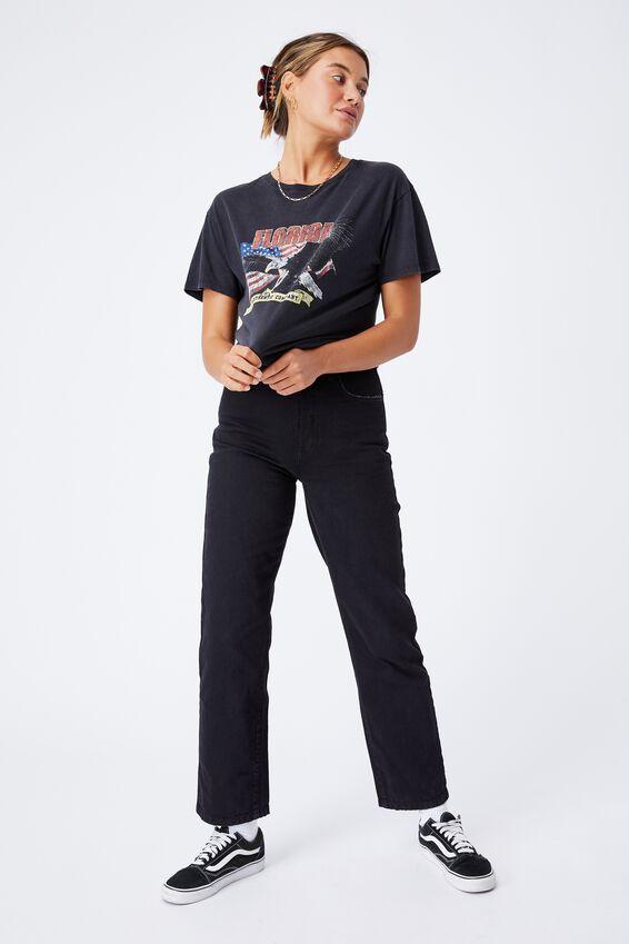 American Eagle Longline T Shirt, VINTAGE WASH BLACK/FLORIDA EAGLE