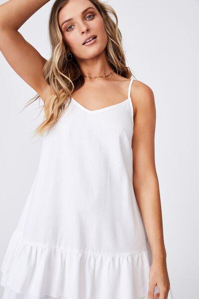 Harper Strappy Tiered Dress, WHITE