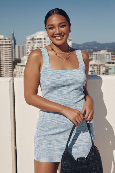 Chicago Square Neck Knit Mini Dress, BAJA BLUE/BLUE HEAVEN/WHITE