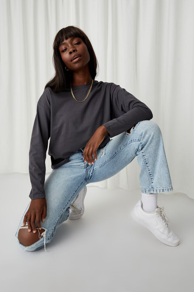 Talia Long Sleeve T Shirt, GRANITE GREY