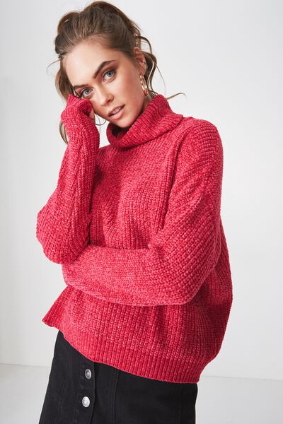 Tully L/S Chunky Knit, RASPBERRY PINK