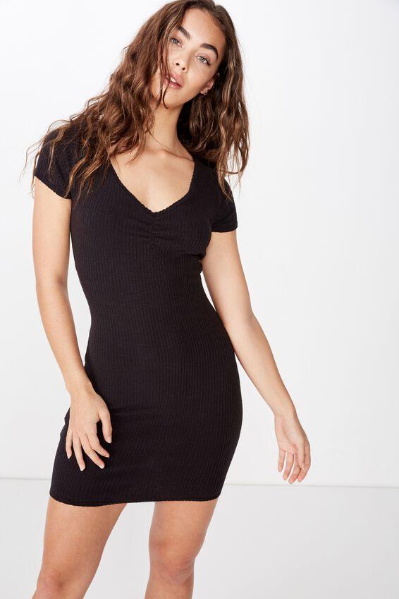 Tegan Gathered Mini Dress, BLACK
