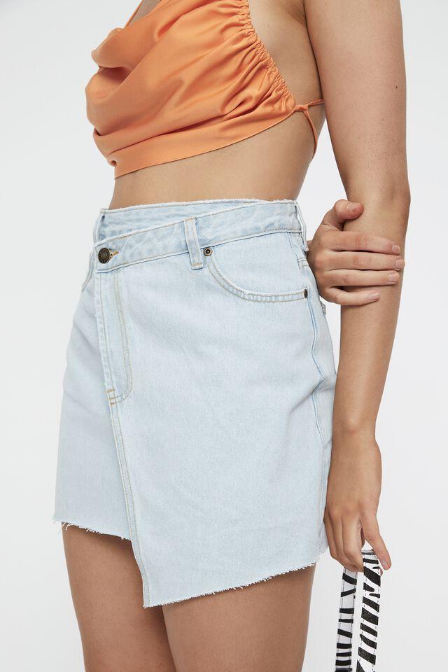 Asymmetric Denim Mini Skirt, WASHED BLUE
