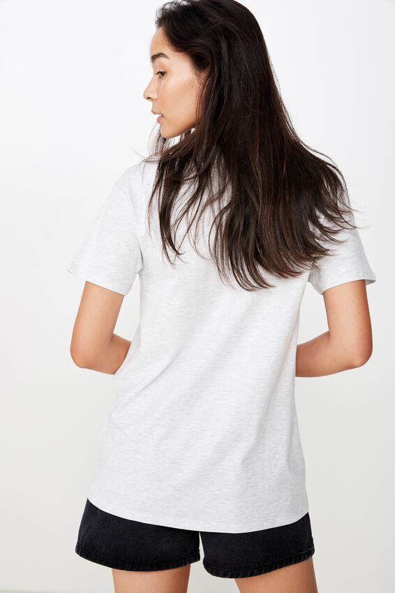 Lola Printed Longline Tee, LIGHT GREY MARLE/UPSTATE NY