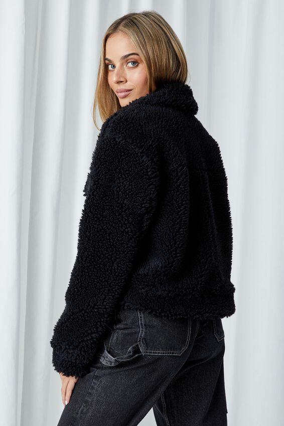 Billie Teddy Zip Through Jacket, BLACK